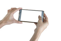Taking photo with mobile smart phone. Stock Photos
