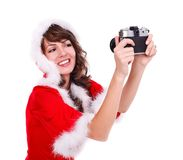 Taking photo of Mrs. Santa Stock Images