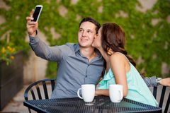 Taking a photo with my girlfriend Royalty Free Stock Images