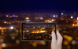 Taking photo of night city Royalty Free Stock Images