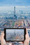 Taking photo of Paris panorama with Eiffel Tower Stock Images