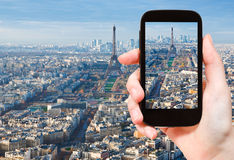Taking photo Paris skyline with Eiffel Tower Royalty Free Stock Images