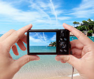 Taking photo of seaside Royalty Free Stock Image