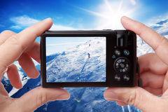 Taking photo of skier Royalty Free Stock Photos