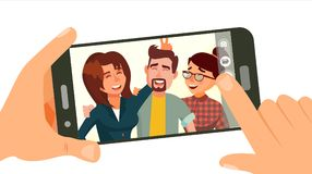 Taking Photo On Smartphone Vector. Smiling Friends Taking Selfie. People Posing. Hand Holding Smartphone. Friendship Stock Images