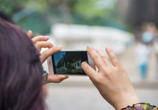 Taking photo with smartphone stock images