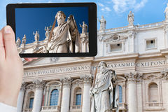 Taking photo Statue of Apostle in Vatican Stock Image
