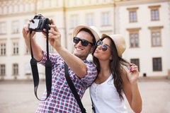 Taking photo of themselves Stock Photography