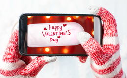 Taking a photo of Valentines day card Stock Photos
