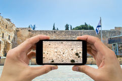 Taking photo in western wall of jerusalem Stock Photos