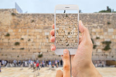 Taking photo in the western wall of jerusalem Stock Image