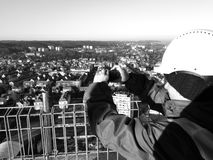 Taking photographs. Artistic look in black and white. Stock Image