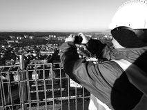 Taking photographs. Artistic look in black and white. Stock Photo
