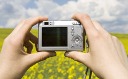 Taking photos. Shooting with point and shoot camera Stock Photos