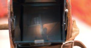 Taking photos or making video with retro cmaera stock video