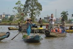 Taking Photos at Phong Dien Floating Market Stock Photography