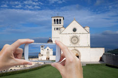 Taking picture of the Assisi (Umbria, Italy) Royalty Free Stock Image