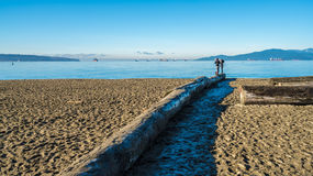 Taking picture on beach. The guys are taking picture on English bay beach.Vancouver.Canda Royalty Free Stock Photos