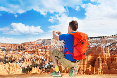 Taking picture of Bryce canyon with smartphone Stock Image