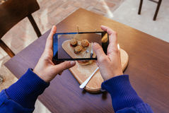 Taking Picture Of Burgers Sliders Royalty Free Stock Images