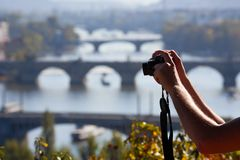 Taking picture of The Charles Bridge in Prague Royalty Free Stock Images