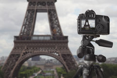 Taking picture of Eiffel tower in Paris Stock Photography