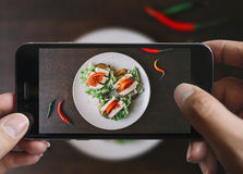 Taking picture of ham sandwich with mobile phone. royalty free stock image