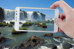 Taking a picture in Iguazu with a Smartphone Stock Photos