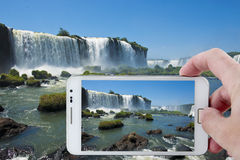 Taking a picture in Iguazu with a Smartphone Stock Photo