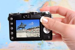 Taking picture of Lisbon Portugal Royalty Free Stock Photo