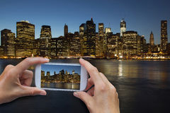Taking a picture of Lower Manhattan at night Stock Photography