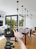 Taking picture in luxury living room Royalty Free Stock Photography