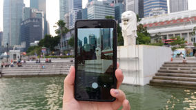 Taking Picture of Merlion Park Singapore Royalty Free Stock Photo