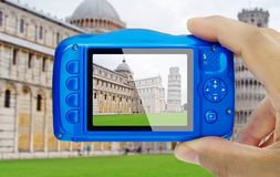 Taking picture miracles square Pisa Italy compact camera pov Royalty Free Stock Images