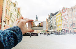 Taking a picture of the old city of Wroclaw in Poland Royalty Free Stock Image