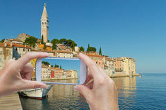 Taking  picture of the Rovinj (Croatia) Royalty Free Stock Images