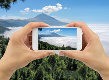 Taking a picture of teide Royalty Free Stock Image