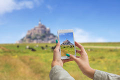 Taking pictures on cellphone Royalty Free Stock Photo