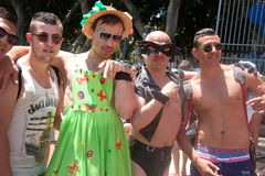 Taking pictures with chained participants of Pride Parade Royalty Free Stock Photo