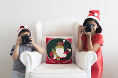 Taking pictures at Christmas Stock Photo