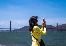 Taking pictures of Golden Gate Bridge Royalty Free Stock Images