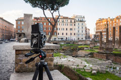 Taking pictures at Largo di Torre Argentina, Rome, Italy Royalty Free Stock Photography