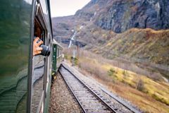 Taking pictures during trip on a Flamsbana train line Royalty Free Stock Image