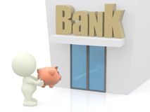Taking a piggybank to the bank Royalty Free Stock Photo