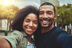 Taking a pov selfie with smart phone royalty free stock photos