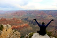 Taking in the raw beauty of the Grand Canyon Royalty Free Stock Photos