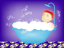 Taking a relaxing bubble bath Royalty Free Stock Images