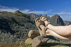 Taking a rest. Having a rest after a long walk in the mountains of Gran Canaria stock photography