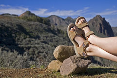 Taking a rest 2. Having a rest after a long walk in the mountains of Gran Canaria stock photography