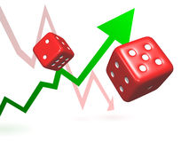 Taking Risks. Rolling dice represent taking chances and risks to achieve success or failure symbolised by rising and falling arrows.  Illustration could be used Royalty Free Stock Photos